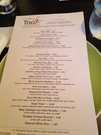 Tao Yuan: the menu