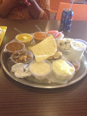 Gurgaon, India: A Punjabi thali at the food court.