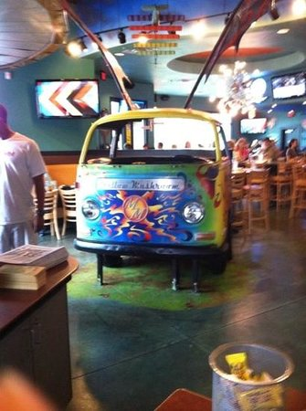 Mellow Mushroom : a booth table!! pretty cool!