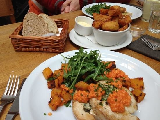 Richard Booth s Bookshop Cafe: chicken ballotine with feta and spinach, rocket and roast squash with home made bread and chips