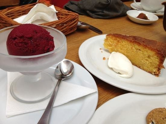 Richard Booth s Bookshop Cafe: beetroot and chocolate ice cream with orange polenta cake