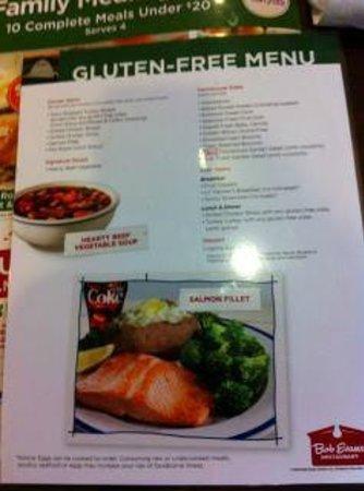 Bob Evans Gluten Free Lunch Dinner Menu