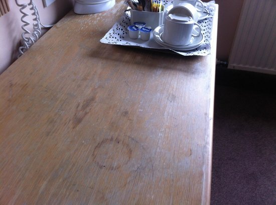 The Regency Hotel Dublin: Table could do with a varnish but was clean