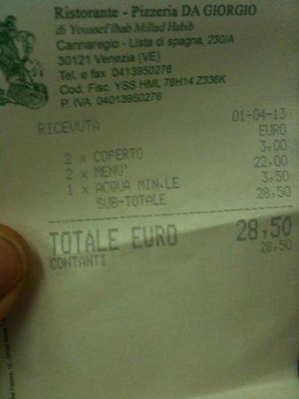 Ristorante Pizzeria Da Giorgio: conto