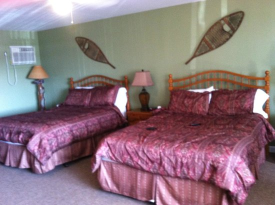 East Shore Lodging: Two comfortable queen size beds, microwave & fridge in corner