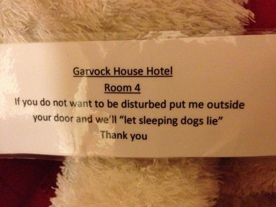 Garvock House Hotel: do not disturb dog!