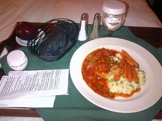 Ivey Spencer Leadership Centre: Room Service - Chicken with homemade salsa, risotto and baby carrots!