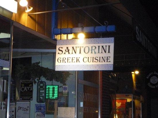 Santorini Restaurant: A welcoming sign