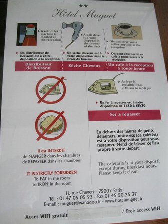 Hotel Muguet: Notice in room
