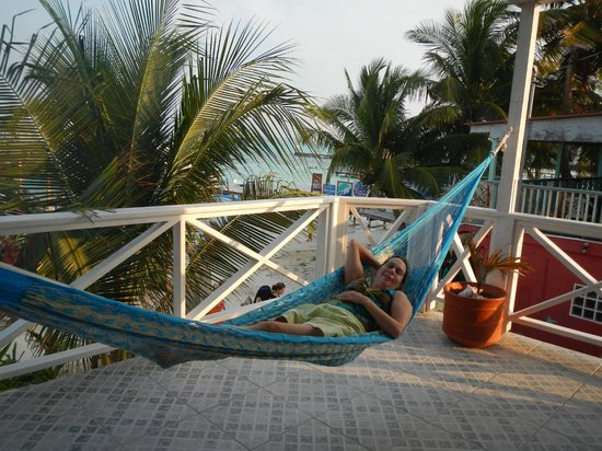 Conch Shell Inn: Deb enjoying the hammock on the deck