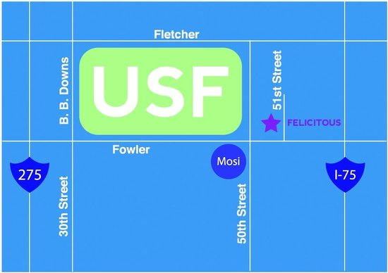 Felicitous Coffee & Tea: Map from USF