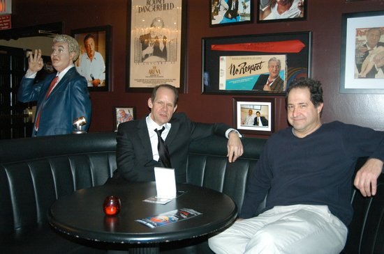 "Laugh Factory: Comedians Bob Zany & Harry Basil hang out in the club's famous ""Rodney Booth"" showing some Respe"