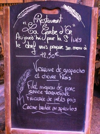 La Gerbe d'Or : menu del dia
