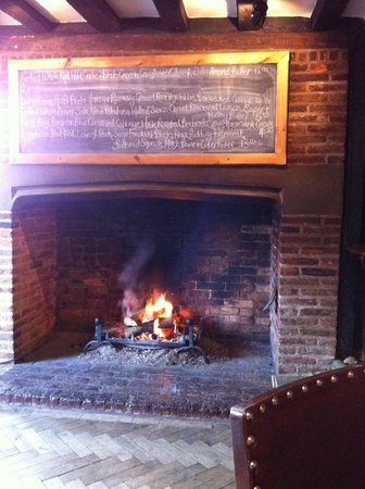 The White Horse Inn: Specials board by the open fire