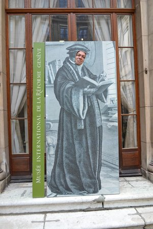 Internationale Museum der Reformation: On the entry, you can take a picture with your face on Jean Calvin's body. :)