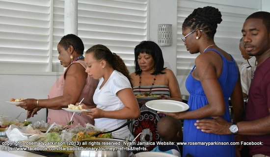 Chez Max: At the buffet table...our own Judy Wilkinson from the Barbados Tourism & Hotel Association