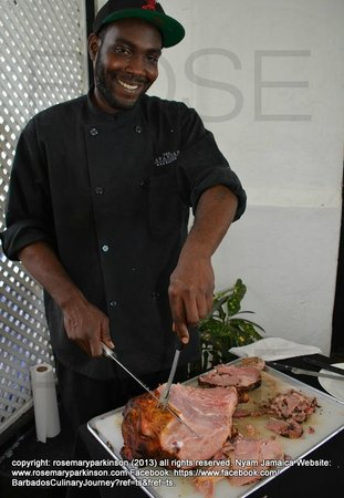 Chez Max: Local ham carved by one handsome Bajan with a smile!