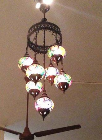 Tweedies: stunning lamp inside. wish I had taken a photo of the food!