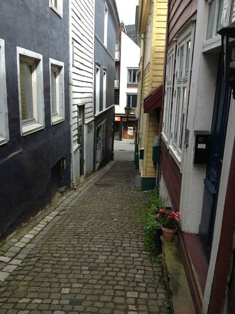 Bergen Apartments: Looking down the alley from the door