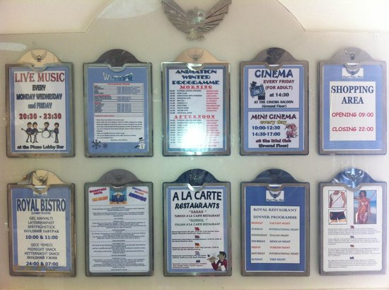 Royal Wings Hotel: Information board