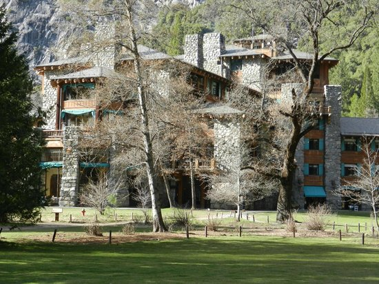 The Majestic Yosemite Hotel: The hotel from the back lawn area looking in.
