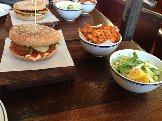 Leon - Ludgate Circus : meatball burger, fries and slaw