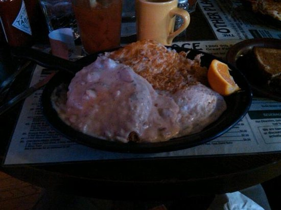 O. P. The Other Place: Chix Fried Steak, Hash Brown & Eggs for breakfast