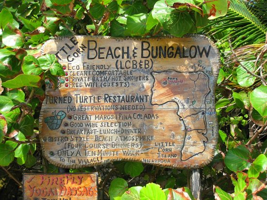 Little Corn Beach and Bungalow: The Sign