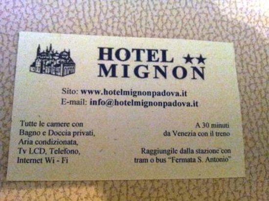Hotel Mignon: business card