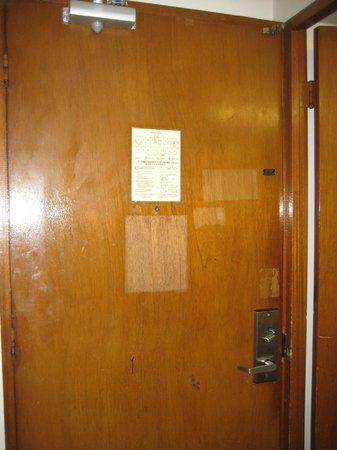 "Pagoda Hotel: Door full of scratches or ""stains"""