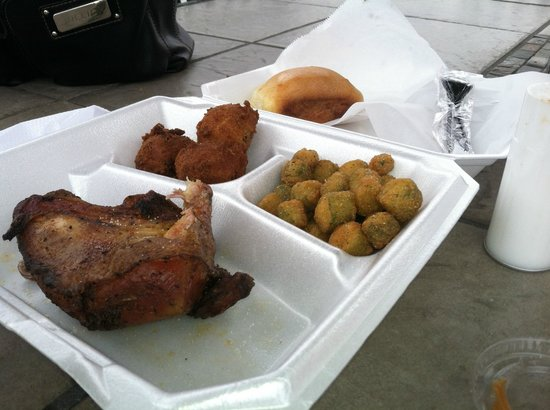 Chicken Lickin' Hickory House: BBQ Chicken with Fried Okra and Hush Puppies