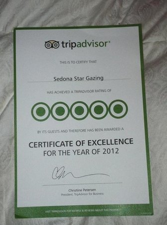 Sedona Star Gazing: Tripadvisor Award of Excellence