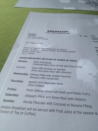 The Old Courtyard: Breakfast Menu