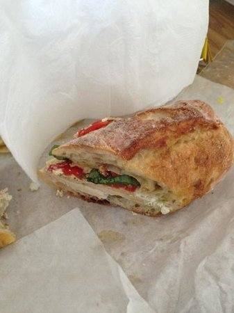 Hendrick's Food Vault: Chicken, feta, basil, roasted sweet red peppers on ciabatta - YUM