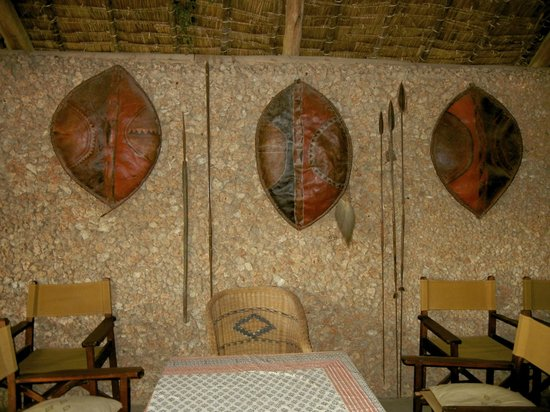 African Heritage House: Maasai Shields with Lion hair