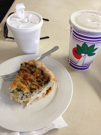 Cooper Center: breakfast quiche, awesome coffee and fresh coconut water