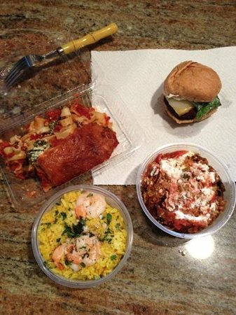 Volcano, HI: beef slider with Munster, lettuce and garlic aioli, vegetarian lasagna, vegetarian Mexican casse