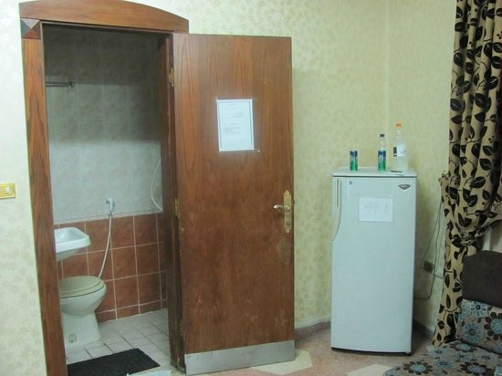 Arab Tower Hotel: One of the bathrooms and fridge
