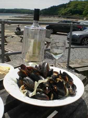 Wiseman's Bridge Inn : Mussels, Vino and that view