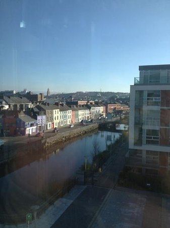The River Lee: glass elevator overlooking city