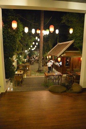 Coconut Garden: Back courtyard at night.