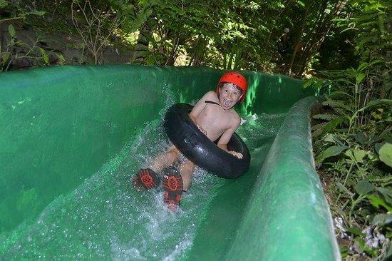 Buena Vista Lodge & Adventure: Alex loved the very FAST concrete slide. You definitely need the helmet!