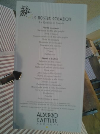 Albergo Cantine Ascheri: il menu alla carte della colazione