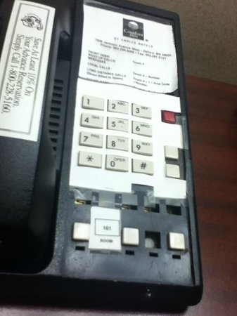Quality Inn and Suites: Missing Buttons on Keypad