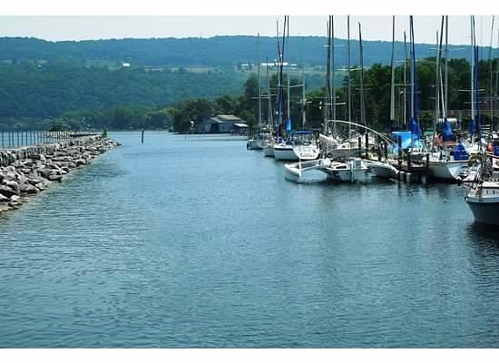 Seneca Harbor Station: View of Seneca Lake from restaurant
