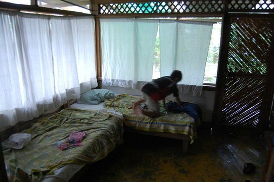 Miraflores Lodge: Twin beds with ants and curtains that don't close