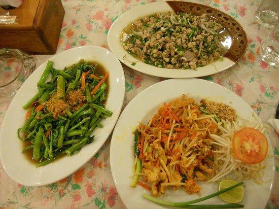 Sweet and Sour: Chicken Pad Thai, Pork Laab & Phak Bung Fai Daeng (Morning Glory)