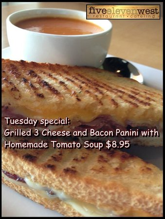 Five Eleven West: Grilled 3 cheese and Bacon panini with homade Tomato ...