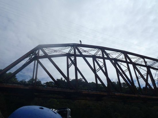 Pacuare River : Kids jumping off bridge at end of trip