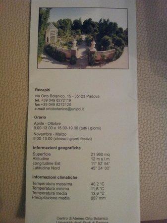 Orto Botanico di Padova: brochure